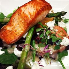 Grilled Salmon Salad with Mixed Greens, Heirloom Tomatoes, Asparagus, Goat Cheese and Roasted Shallot Vinaigrette