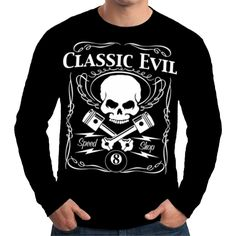 Velocitee Mens Long Sleeve T Shirt Classic Evil Motorcycle Biker Rat Rod W17376 #Velocitee