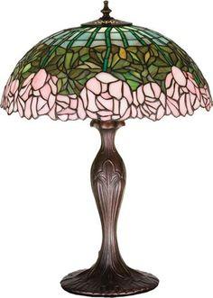 Louis Comfort Tiffany Rose Lamp | lighting lamp Tiffany Floral Art Glass Cabbage Rose Table Lamp