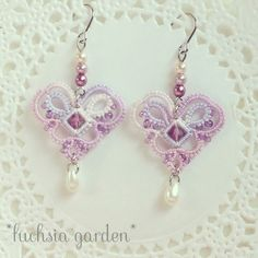 Mini Heart Earrings - Pink × Purple [cute] system of Tatting ~