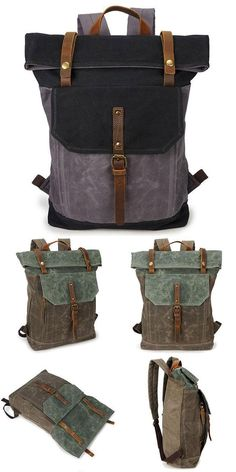 ee57afeafebd Unique Man Retro Canvas Buckle Leather Waterproof Square Flap School  Backpack Large Travel Backpack