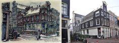 Langenstraat hoek Korstjespoortsteeg, Amsterdam Anton Pieck, Amsterdam Art, Street View, Hu Ge