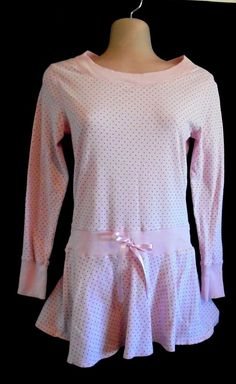 Limited Too - Pink w/Black Polka Dots Dress, Long Sleeves, Cotton Girls Size 14 #LimitedToo #DressyEveryday