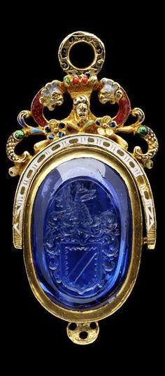 Sapphire seal with the arms of Knyvett, made in England, c.1580 -- The seal most likely belonged to Sir Thomas Knyvett the younger, who was knighted in 1579/80 when he was made High Sheriff of Norfolk. Sir Thomas was also married to the daughter of Queen Elizabeth I's Treasurer of the Household […]
