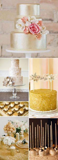 Tendencias de boda 2014 – Mesas de postres con Brillos y dorados