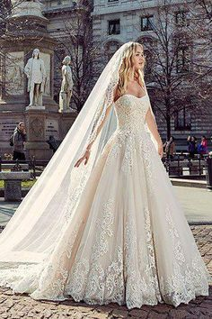 Divine Peach Wedding Gown With Long Cape