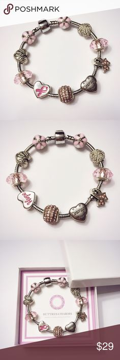 Pink breast cancer awareness hope charm bracelet Note: this is not pandora!    Material: 925 silver                Stainless steel                 Zinc alloy with silver plate                Fine Rhinestone                 Murano glass                 All our beads and charms do Not tarnish, great quality, enjoy the discount and wrap all the fine pretty in a whole package!    Including :                   All the beads/charms with bracelet shown in the picture Jewelry Bracelets