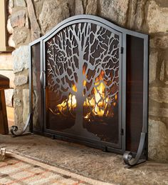Tree of Life Fire Screen with Door - The Tree of Life symbolizes the interconnection of all life on the planet, adding symbolism and meaning to this artful fire screen.