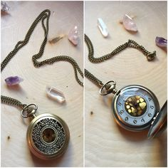 Vintage locket #vintage #necklace https://www.etsy.com/listing/259631144/gold-burnished-clock-locket-vintage