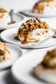 9 reviews · 100 minutes · Serves 6 · Soft and pillowy caramel swirled mini pavlova cakes with salted caramel sauce, cheesecake mousse, and chopped glazed walnuts. Impress everyone with these meringue cakes that are super easy to make… More