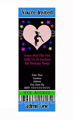 GYMNASTICS PARTY Invitations - Personalized D I Y You Print At Home - Gymnastics, Tumbling, Girl's Birthday Party. $10.00, via Etsy. 7th Birthday Party Ideas, 8th Birthday, Birthday Parties, Party Planning, Wedding Planning, Wedding Ideas, Invites, Party Invitations, Gymnastics Birthday