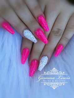 Here is Hot Pink Nail Designs Ideas for you. Hot Pink Nail Designs hot pink nailz and bling pink nails pink bling nails. Long Square Acrylic Nails, Bright Summer Acrylic Nails, Acrylic Nails Coffin Short, Pink Acrylic Nails, Pink Nail Art, Pink Acrylics, Pink Summer Nails, Coffin Nails, Nail Designs Hot Pink