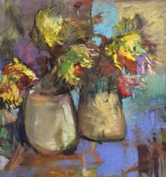 "2 Sunflower Arrangements, 4 Sunflowers. 2015. Pastel, Oil & Compressed Charcoal. 14"" x 13."" Casey Klahn."