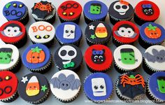 Kawaii Halloween Cupcakes - I was inspired by Kawaii cuteness and made 3 dozen cupcakes with toppers for a Halloween party.  All hand cut and made out of MMF.