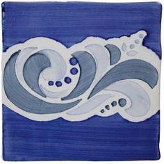 Carrelage mural manises dec. Alicante nº3 azul manises blanco 13x13 - Comptoir du Cérame