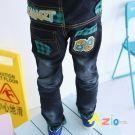 Azio Kids-褲頭鬆緊配色後69貼布造型口袋牛仔褲(藍)