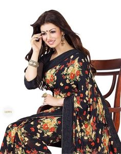 d260870534003e Shayona Creation Georgette Black Floral Print Saree - Buy Online at best  prices on Shimply.com