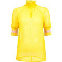Maribel Modern Victorian Blouse | Moda Operandi (3.635 ARS) ❤ liked on Polyvore featuring tops, blouses, victorian collar blouse, short puff sleeve blouse, cut out blouse, puffy sleeve blouse and short tops