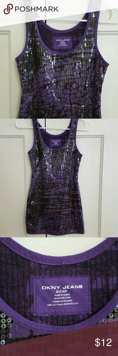 """DKNY JEANS Top Like New.  Tank Top Purple and Black Design Covered with Sequins. 26"""" Length. 100% Cotton DNKY  Tops Tank Tops"""