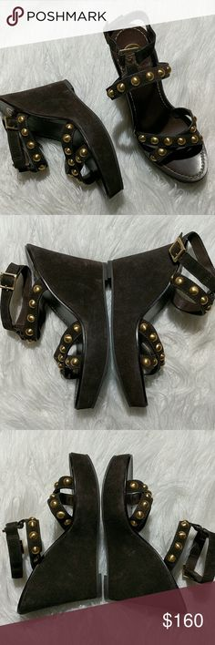 """Tory Burch Brown Leather Wedged Sandals sz 8 Brown leather and gold stud ankle strap wedges, 4.5"""" heel, the wedge is suede EUC Tory Burch Shoes Wedges"""