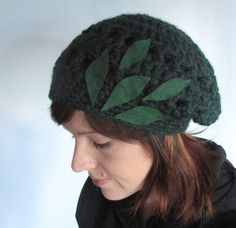 Your place to buy and sell all things handmade Hand Crochet, Crochet Hats, Felt Leaves, Pretty Green, Emerald Green, Pixie, Magic, Winter, Etsy