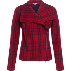 Jigsaw Tartan Double Face Biker ($150) ❤ liked on Polyvore featuring outerwear, jackets, coats, coats & jackets, outer wear, red, rider jacket, red wool jacket, motorcycle jacket and plaid jacket