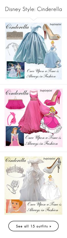 """Disney Style: Cinderella"" by trulygirlygirl ❤ liked on Polyvore featuring Christian Louboutin, Rodo, Louis Mariette, RoomMates Decor, disney, cinderella, Disney, L. Erickson, Cartier and Christian Dior"