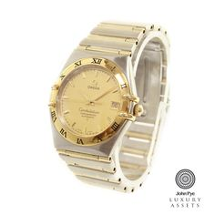 #Omega Constellation gents automatic watch, stainless steel and #gold case and bracelet with gold dial #luxurywatches #watches #onlineauction