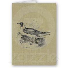 Seagulls on Oatmeal Burlap Greeting Cards