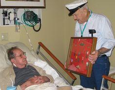Niagara Hospice volunteer and Navy veteran, Gene Brayley, visited often with Army veteran Ralph Bishop at Niagara Hospice House.