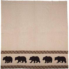 Wyatt Bear Shower Curtain 72 x 72 Cotton Curtains, Colorful Curtains, Shower Curtains, Orange Fabric, Plaid Fabric, Green Fabric, Fox Decor, Bear Decor