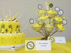 Cake and cupcakes at a Bumble Bee party #bumblebee #party