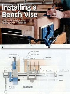 Install Bench Vise - Workshop Solutions Projects, Tips and Tricks - Woodwork, Woodworking, Woodworking Plans, Woodworking Projects Workbench Designs, Workbench Plans, Diy Woodworking Vise, Woodworking Projects, Pallet Projects, Workshop Storage, Diy Workshop, Creative Workshop, Workbenches