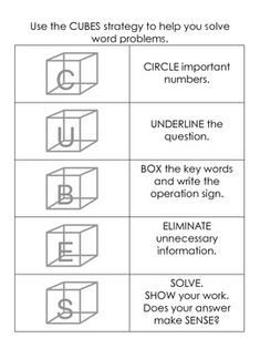 CUBES Math Word Problem Strategy