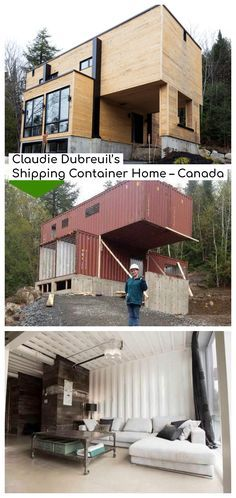 Claudie Dubreuil, a Canadian general contractor in Mirabel, Quebec, turned shipping containers into a timber clad, contemporary and somewhat eclectic 3 bedroom home. Build your own shipping container home! Storage Container Homes, Building A Container Home, Container Buildings, Container Architecture, Sustainable Architecture, Contemporary Architecture, Cargo Container, Container Store, Shipping Container Home Designs