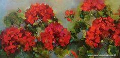 "Daily Paintworks - ""Spring Geranium Garden and a Houston Workshop - Flower Paintings by Nancy Medina"" - Original Fine Art for Sale - © Nancy Medina"