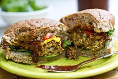 black bean almond and sunflower seed vegan veggie burgers.