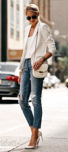 #Summer #Outfits / White Jacket + Ripped Skinny Jeans