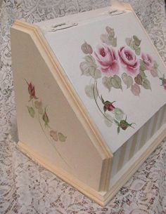 Shabby Cottage Bread Box Vanity Bin Chic Makeup Storage For Bathroom or Bedroom Hand Painted Roses. $45.00, via Etsy.
