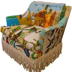 Bold & colorful arm chair in bird print with extra large bullion fringe trim