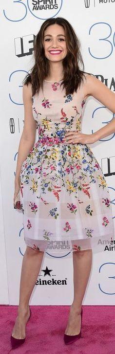 Emmy Rossum: Dress – Oscar de la Renta  Shoes – Christian Louboutin  Jewelry – Piaget
