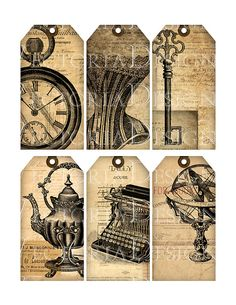 Vintage Ephemera Tags shabby chic printable by VectoriaDesigns
