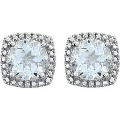 STERLING SILVER Earrings are stud style for pierced ears. Each earring features a GENUINE AQUAMARINE = 3/4 CARAT with DIAMOND accents. The Aquamarine Total Weight = 1.50 CARATS!