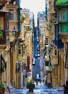 Valletta, Malta ~ I would love go visit Malta, but this scene makes it seem not too handicap-friendly, hee hee.