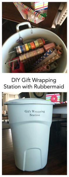 Organization | Sharing how I created a creative portable DIY Gift Wrap Station. Store all your gift wrap and supplies in one easy to find location.