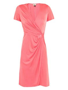 Issa London Cross Front Silk-Jersey Dress in Coral Pink