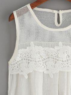White Mesh Neck Crochet Applique Tank Top