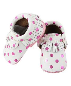 Love this Pink Polka Dot Eco Fringe Moccasin on #zulily! #zulilyfinds