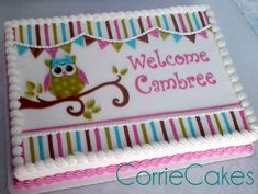 Corrie Cakes - Owl cake. Could use this theme for a shower or birthday.