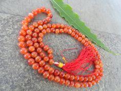 Genuine Carnelian Necklace Reddish Orange Stone 8mm 108 Carnelian Round Beads Ro
